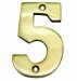 Numerals ''5'' 50mm Lacquered Brass (Carded)