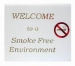 'WELCOME TO A SMOKE FREE ENVIRONMENT' Table Sign Gold/Red On White (Pack 5)